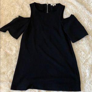 Black, open shoulder dress